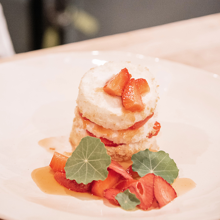 Angel Food Cake with Macerated Strawberries
