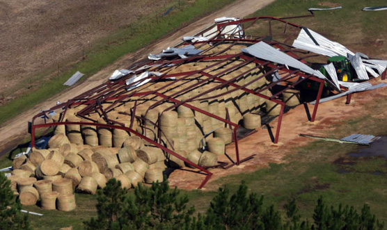Hay barn destroyed by Hurricane Michael